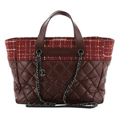 Chanel Logo Chain Tote Quilted Aged Calfskin and Tweed Medium