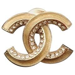 Chanel Logo Crystal Pin Brooch