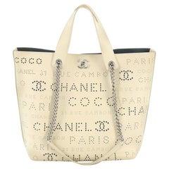 Chanel Logo Eyelets Shopping Tote Perforated Calfskin Medium