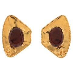 Chanel Logo Gold Tone Clip On Earrings 1996s