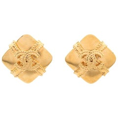 Chanel Logo Gold Tone Clip On Earrings