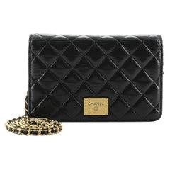Chanel Logo Plate Wallet on Chain Quilted Shiny Aged Calfskin