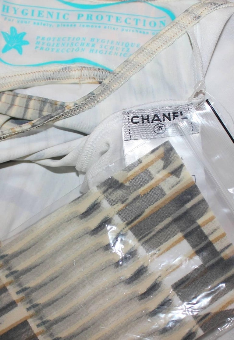Chanel Logo Print Swimsuit and Cover Up Pareo Set Ensemble  For Sale 1