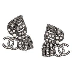 Chanel Logo Silver Tone Earrings 2013s