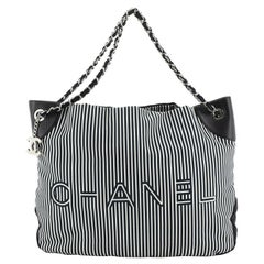 Chanel  Logo Tote Striped Canvas Large