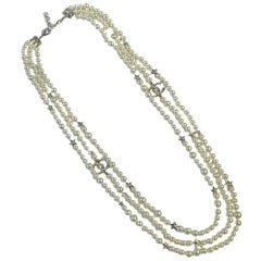 Chanel Long 3 Strand Necklace with Silver Stars, 2016 Collection