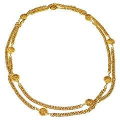 Chanel long 68 Inch Sautoir necklace with Lion motifs