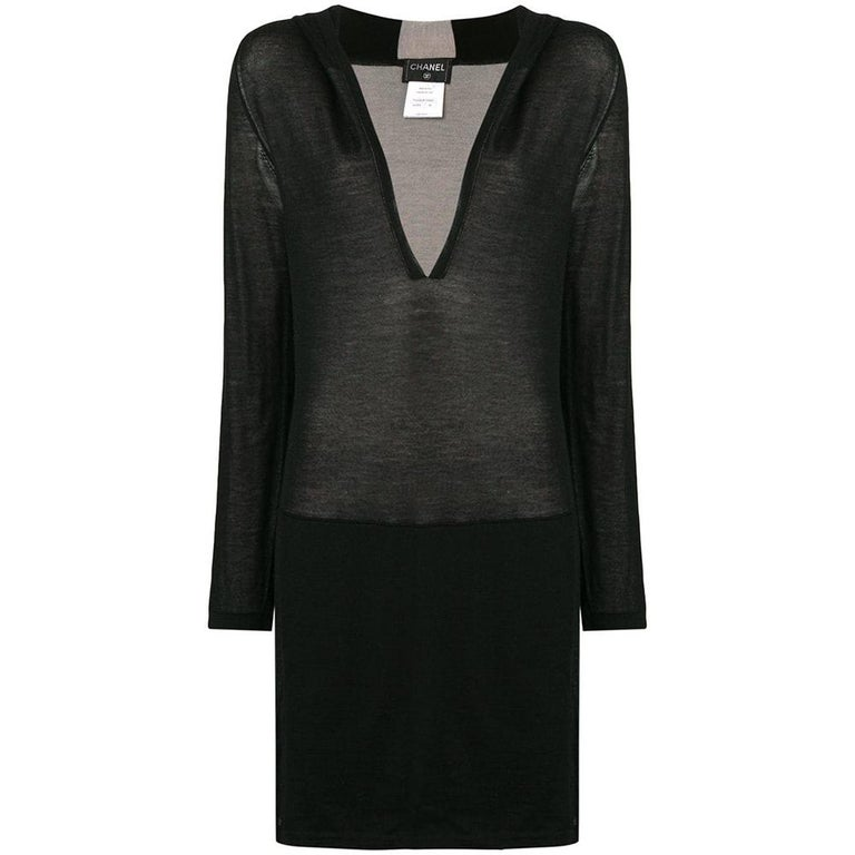 Chanel Long Black Hooded Lounge Top For Sale