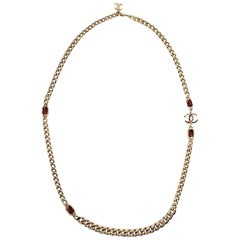 Chanel Long CC Logo Necklace Gold Tone and Pink Rhinestone