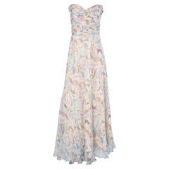 Chanel long cocktail  bustier dress in pastel chiffon
