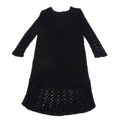 CHANEL Long Dress in Black Mesh Crochet Size 40FR