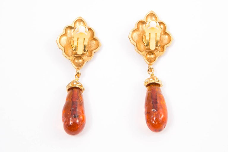 Chanel Long Drop Embellished Clip On Earrings In Excellent Condition For Sale In Paris, FR