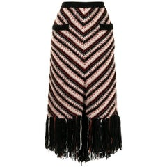 Chanel Long Fringe Wool Skirt Pre-Fall 2014 Dallas Collection