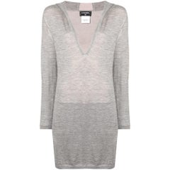 Chanel Long Grey Hooded Lounge Top