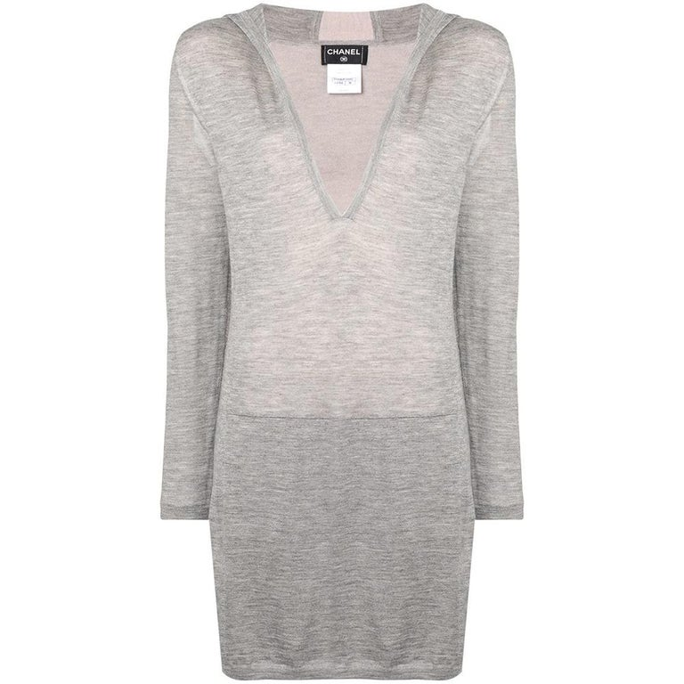 Chanel Long Grey Hooded Lounge Top For Sale
