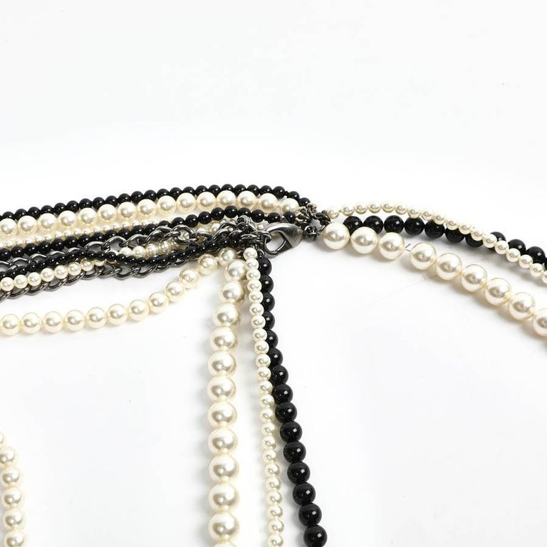 Women's Chanel Long Multi Row Black and White Pearls Necklace  For Sale
