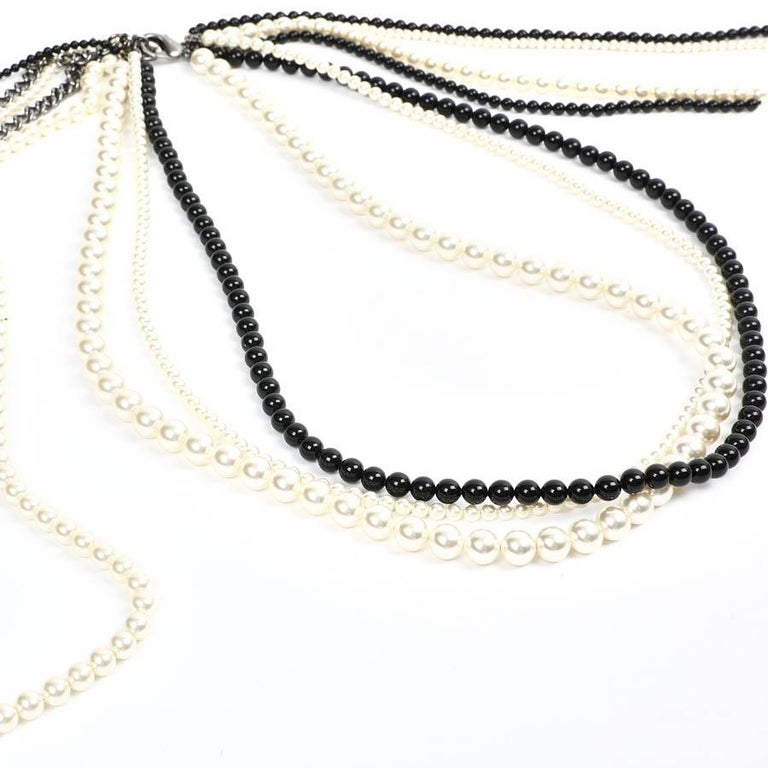 Chanel Long Multi Row Black and White Pearls Necklace  For Sale 1