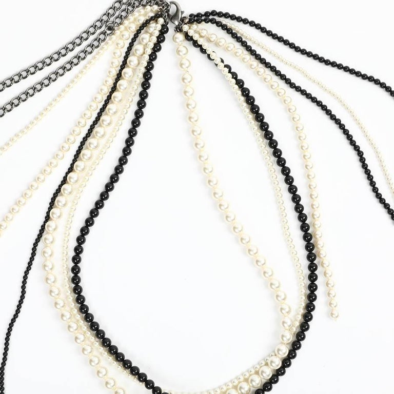 Chanel Long Multi Row Black and White Pearls Necklace  For Sale 2