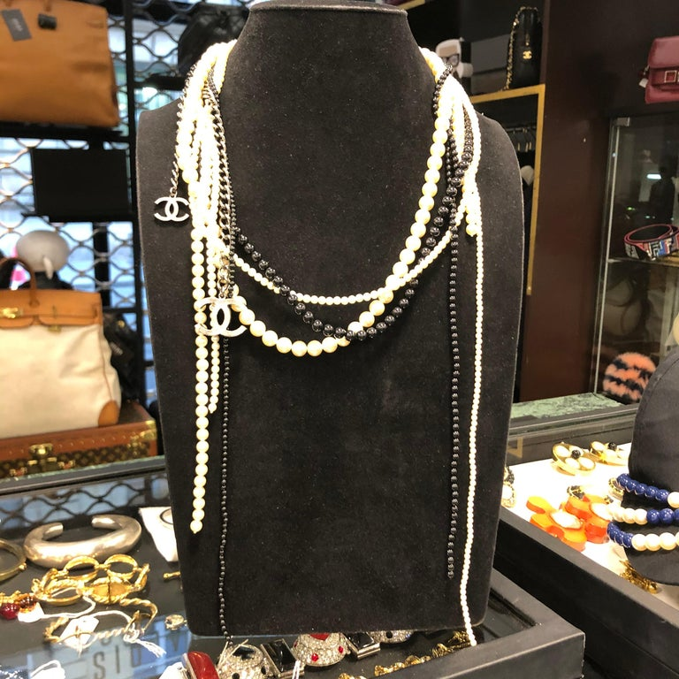 Chanel Long Multi Row Black and White Pearls Necklace  For Sale 4