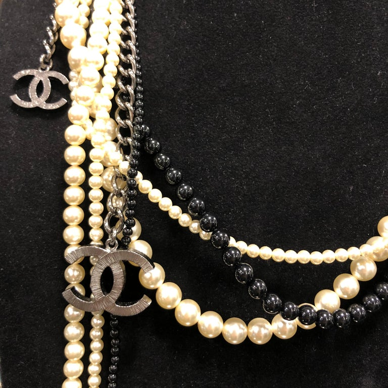 Chanel Long Multi Row Black and White Pearls Necklace  For Sale 5