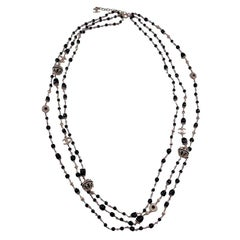 Chanel Long Multi Row Necklace Black Pearl  CC Charm