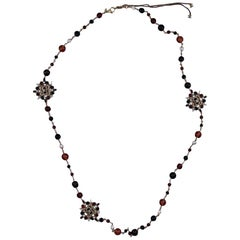 Chanel Long Necklace Molten Glass Pearl  CC Charm