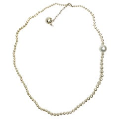CHANEL Long Necklace With Golden CC