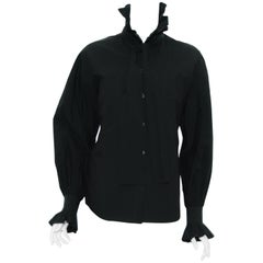 Chanel Long Sleeve Greenish Black  Cotton Pleated Collar and Cuffs Shirt