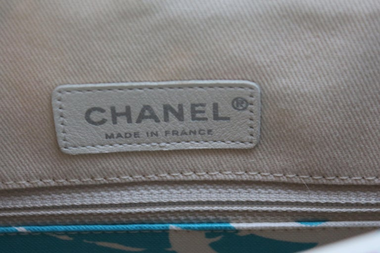 Chanel lovely collector handbag in turquoise canvas, 2005 For Sale 4