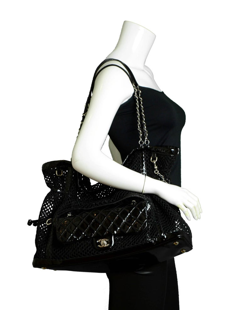 Chanel Ltd Edition Black Mesh & Patent La Madrague 2 in 1 Tote/ Classic Flap Bag In Excellent Condition For Sale In New York, NY