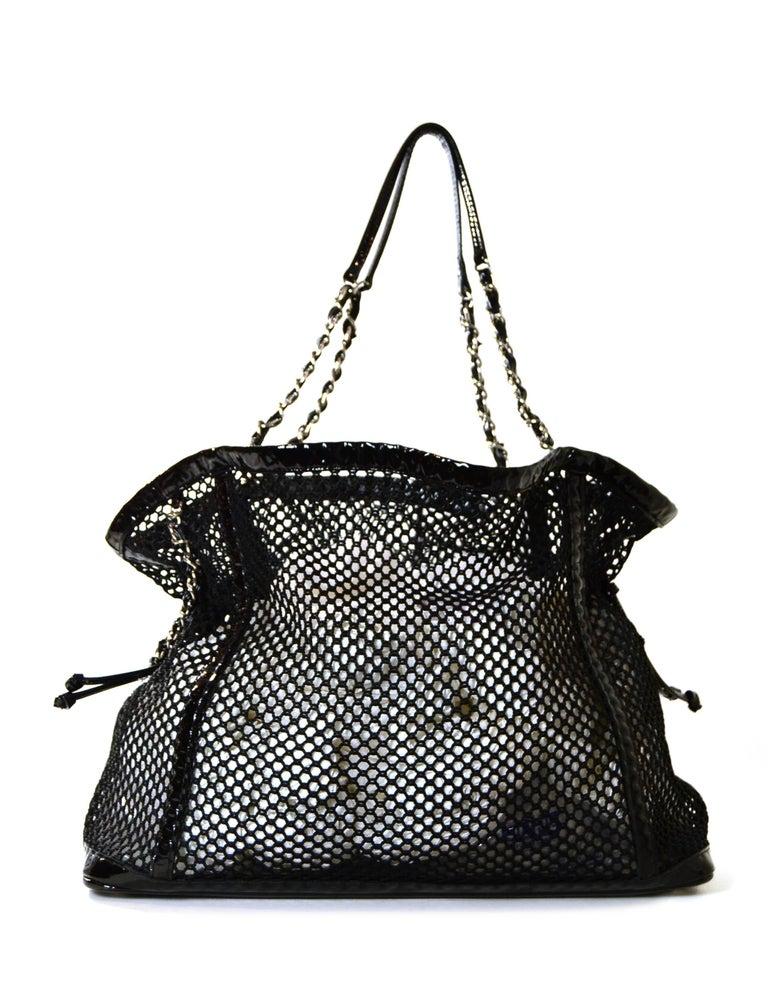 Women's Chanel Ltd Edition Black Mesh & Patent La Madrague 2 in 1 Tote/ Classic Flap Bag For Sale