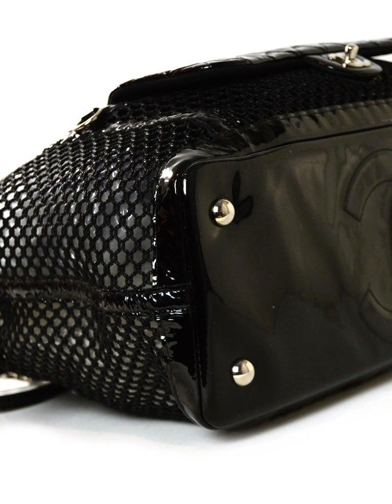 Chanel Ltd Edition Black Mesh & Patent La Madrague 2 in 1 Tote/ Classic Flap Bag For Sale 1