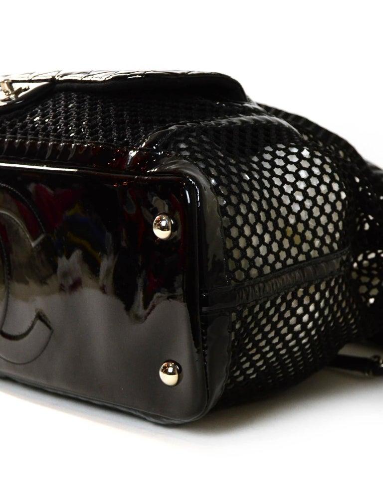 Chanel Ltd Edition Black Mesh & Patent La Madrague 2 in 1 Tote/ Classic Flap Bag For Sale 2