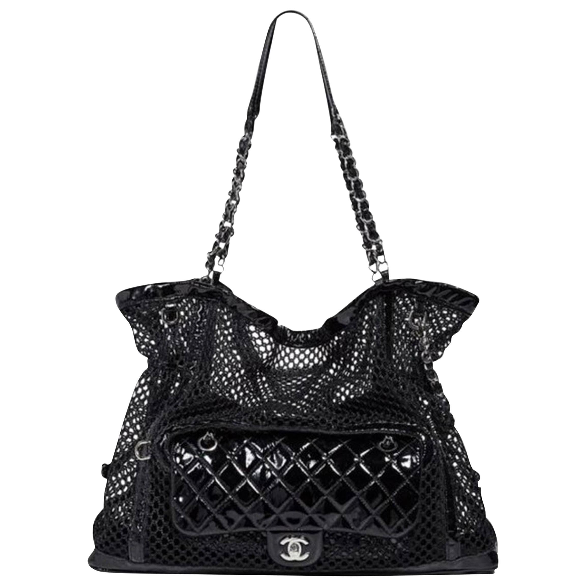 Chanel Ltd Edition Black Mesh & Patent La Madrague 2 in 1 Tote/ Classic Flap Bag