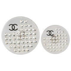 Chanel Lucite and Crystal Disc Pins
