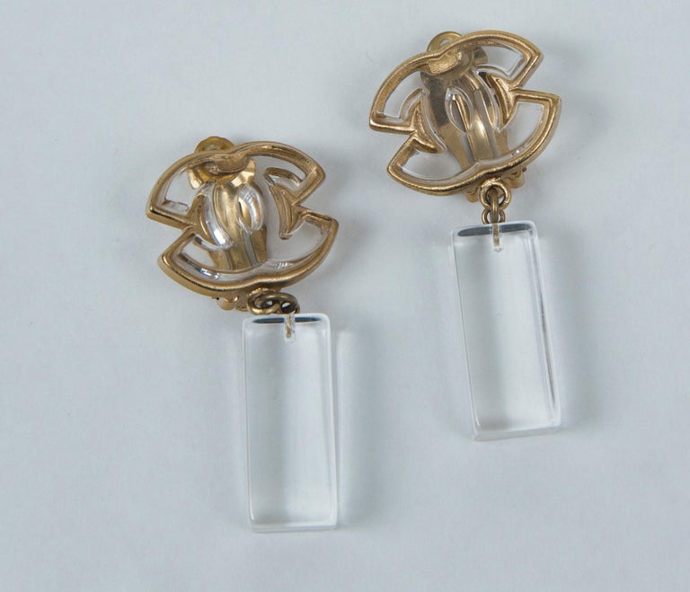 Chanel Lucite and Gold Earrings, Stamped with Chanel, CC, Made in France, 01, P (Spring)