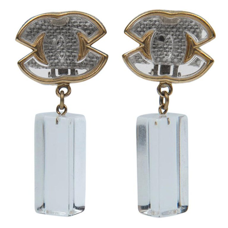 Chanel Lucite and Gold Earrings For Sale