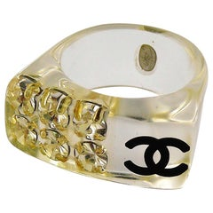 Chanel Lucite CC Logo Crystal Ring