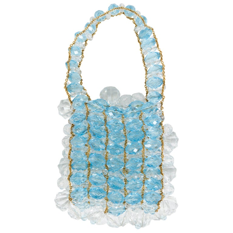 Chanel Lucite Evening Clear Blue White Gold Small Evening Top Handle Bag For Sale
