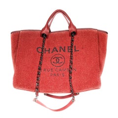 Chanel Lurex Boucle Large Deauville Tote Red