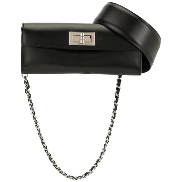 Chanel Mademoiselle 2.55 Reissue Waist Bag Rare Leather Flap Bum Fanny Pack Belt For Sale
