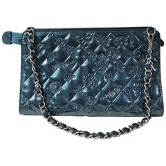 Chanel Mademoiselle Biarritz No 5 Monaco Paris Purse Teal Patent Leather Baguett