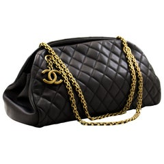 CHANEL Mademoiselle Bowling Chain Shoulder Bag Black Quilted