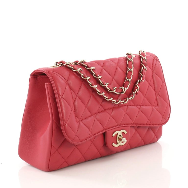 bf5f212209b3c4 Red Chanel Mademoiselle Chic Flap Bag Quilted Lambskin Medium For Sale