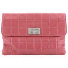 Chanel Mademoiselle Chocolate Bar Clutch Quilted Lambskin Small