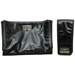 Chanel Mademoiselle Convertible Wristlock in Black Leather Trim