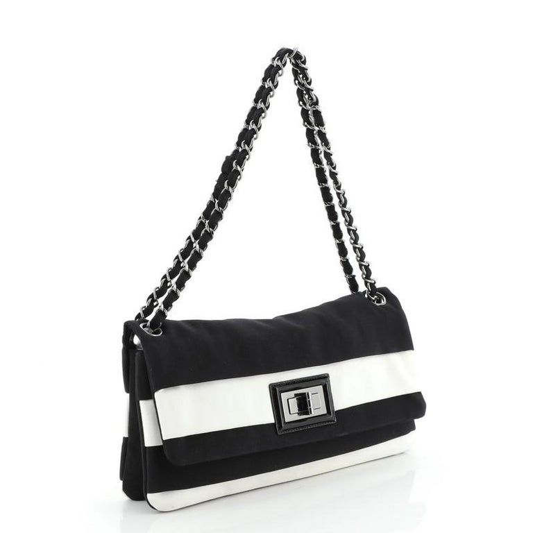 Chanel Mademoiselle Lock Chain Flap Bag Grosgrain Medium In Good Condition For Sale In New York, NY