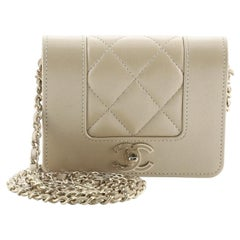 Chanel Mademoiselle Vintage Card Holder on Chain Quilted Iridescent Calfskin