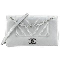 Chanel Mademoiselle Vintage Flap Bag Chevron Sheepskin Medium
