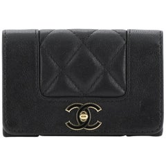 Chanel Mademoiselle Vintage Flap Card Holder Quilted Sheepskin
